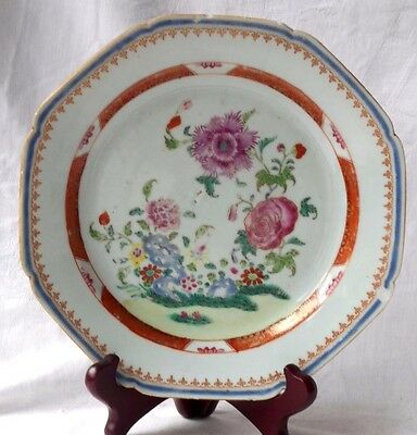 C18Th Chinese Famille Rose Octagonal Plate Decorated With Flowers And Border