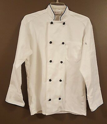 Uncommon Threads White Chef Jacket with black piping NEW size medium
