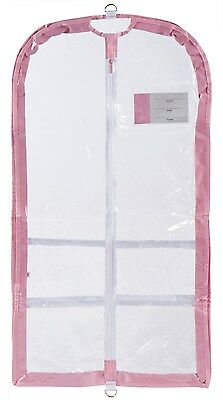 Danshuz Clear Plastic Garment Bag (Pink Trim) for Dance Competitions New