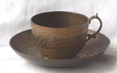 C19Th Chinese Bronze Cup And Saucer In Relief