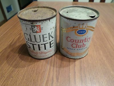 Vintage Lot of 2 - 8 oz Flat Top Beer Cans Gluek Stite Goetz Country Club
