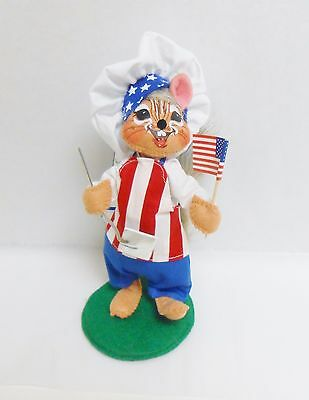 """Annalee 6"""" Red White and Blue Chef BBQ Chipmunk Style #250615 Issued 2015"""