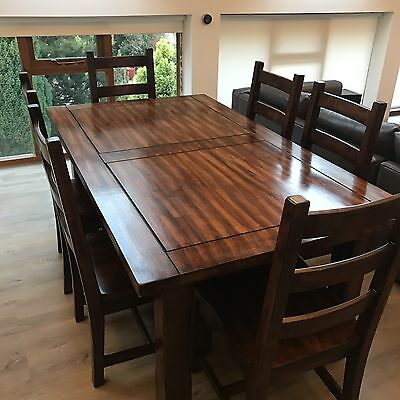 Solid Wood Dining Table And Chairs Set, Hardwood