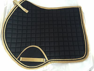 Quality Quilted Black With Gold Edging And Rope Saddle Pad - Size FULL