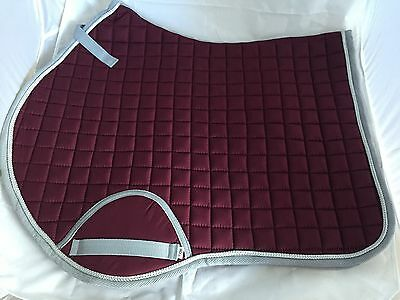 Quality Quilted Burgundy With Grey Edging Saddle Pad - Size COB