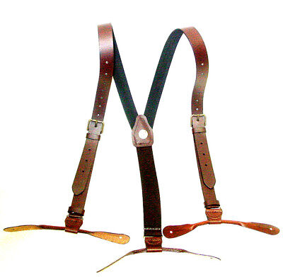Old West Style Brown Leather 1inch wide Suspenders Brass Buckles Button Ends