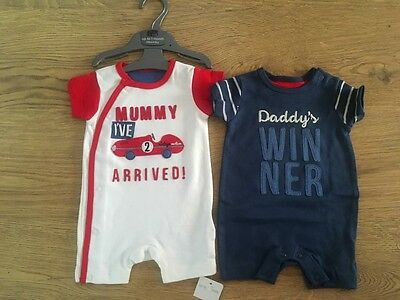 Ex Mothercare Stock 2pk Navy White Red Racing Car Romper Suits. Mummy Daddy BNWT