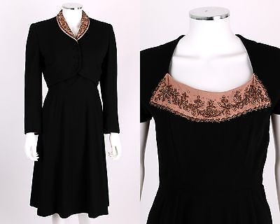 VTG late 1930s - early 1940s 2PC BLACK PINK WOOL BEADED DRESS CROPPED JACKET SET