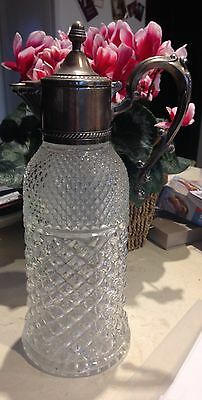 VINTAGE Glass Crystal & Silver Plated ORNATE WATER PITCHER CLARET JUG Italy