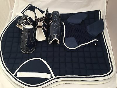 Quality Quilted Navy With White Edging Matching Set - Numnah/veil/boots - FULL