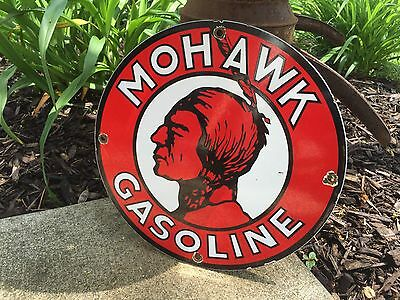 Cool Mohawk Gasoline Porcelain Gas Pump Sign Oil Company Lubester Lube Indian