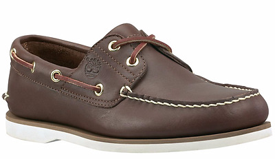 TIMBERLAND MENS 2 Eye Classic Handsewn Leather Boat Shoes Dark Brown Style 74035