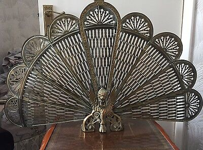 Large Brass Fire Screen Peacock Phoenix Fan Shape Closes And Opens Vintage