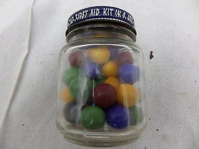 Vintage  MIXED GLASS MARBLES with Vintage jar                                 s1