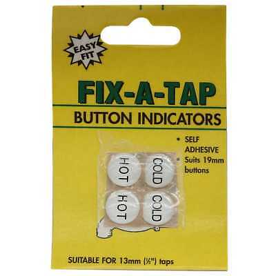 Fix-A-Tap Button Indicators Hot And Cold Taps Suits 19mm Buttons 218162