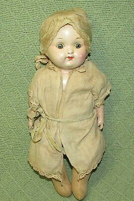 Antique EFFANBEE Composition Cloth Baby Doll 1920s Parts or Repair Sleepy Eyes
