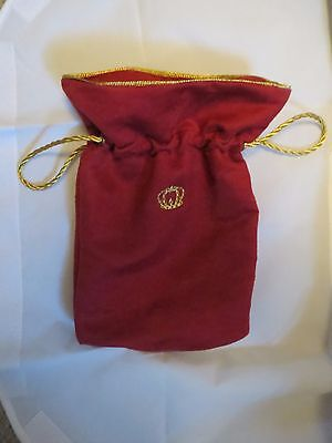 Crown royal XR Limit Ed red & gold velvet fishing quilt hunting marbles bag 11x8
