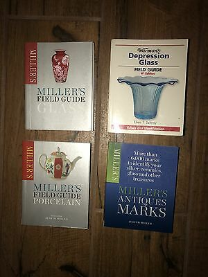 Four Warman's Miller's Field Guides Depression Glass Antique Marks, Porcelain EC