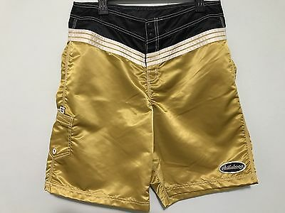 Billabong Boardshorts Gold Black 54th Street Vintage Made In USA Surf Beach