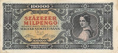 Hungary  100,000 Milpengo  29.4.1946  P 127 Series B  Circulated Banknote GH14