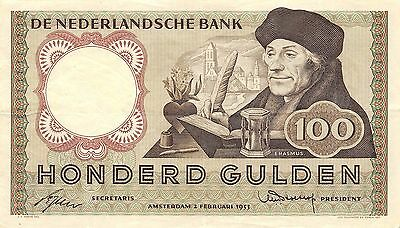 Netherlands 100 Gulden 2.2.1953 P 88  circulated Banknote ,  E10