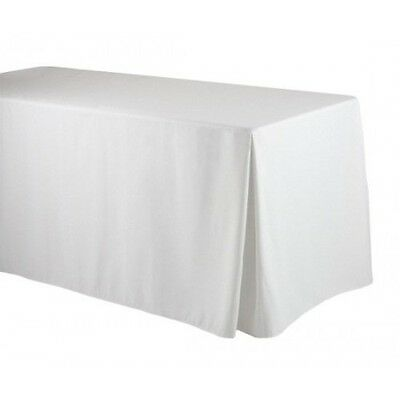 Fitted Table Cover Rectangular Polyester for 8 ft table White ( Corner Pleated)