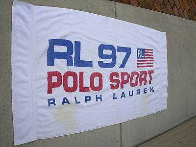 Vintage Ralph Lauren 90s Polo Sport Large Beach Pool Towel USA Spell Out