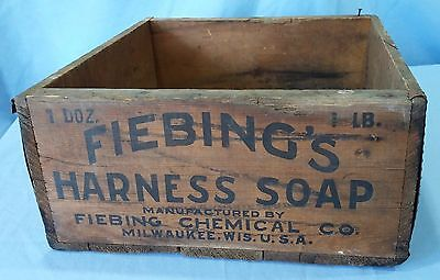 Antique Vintage Wooden Advertising Box Crate Fiebing's Harness Soap