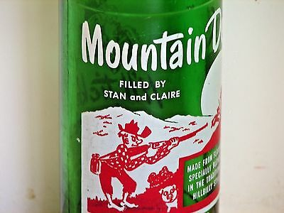 """Mountain Dew hillbilly ACL pop bottle, 10oz.; """"FILLED BY STAN and CLAIRE""""; Omaha"""