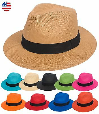 Summer Cool Straw Panama Hat Wide Large Flat Brim Fedora Outback Men Women Beach