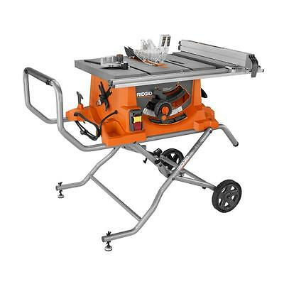 RIDGID R4513 15 Amp 10 in. Heavy-Duty Portable Table Saw with Stand NEW