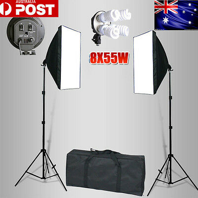 2200W Continuous Lighting Softbox 4 Head Soft Box Light Stand Photography KiT