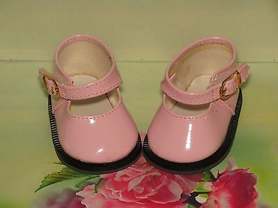 Shoes To Fit The American Galoob Baby Face Girl Doll Pink Shiny Maryjane