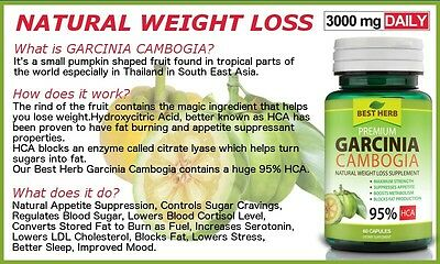 💥 3 Bottles 180 Capsules / Tablets 'BEST HERB' GARCINIA CAMBOGIA Weight Loss