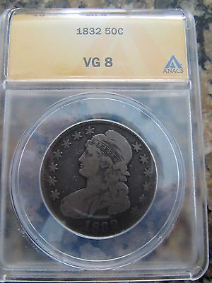 1832 Capped Bust Silver Half Dollar Certified ANACS VG 8 Overton Very Good 50c