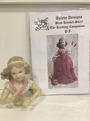 "Porcelain Half Doll - ""PJ"" With Free Bead Knitted Skirt Pattern"