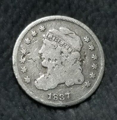 1837 Capped Bust Half Dime Large 5c Silver Coin Full Liberty ~ Rare Date