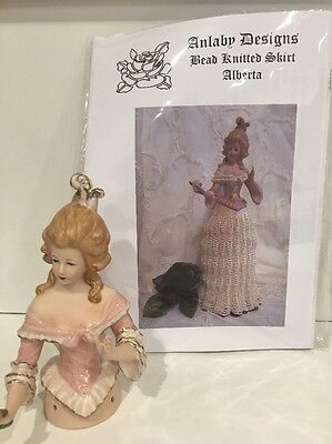"Porcelain Half Doll - ""Alberta"" With Free Bead Knitted Skirt Pattern"