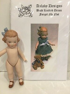 "Porcelain Doll - ""Forget Me Not"" With Free Bead Knitted Pattern"