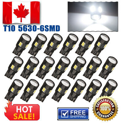10 Pairs 6000K White T10 168 Wedge 6SMD LED Interior High Mount Stop Lights 12V