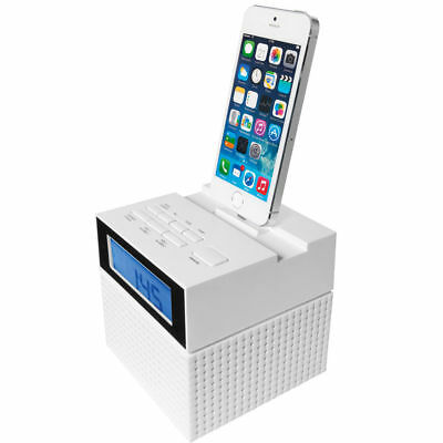 Clock FM Radio with Dock for iPhone/iPod Dual Alarm Snooze Sleep Speaker LCD Aux
