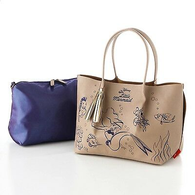 Disney Little Mermaid  x ROOTOTE  fake leather tote bag w/ inside bag pouch