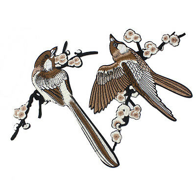1 Pair Bird Embroidered Patches Iron on Sewing Stripe for clothes applique TB