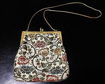 Vintage Handmade Evening Purse w/Embroidered Floral Design and Gold Tone Chain