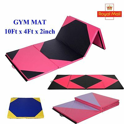 10FT Folding Gymnastics Tumbling Floor Mat Yoga Exercise Fitness Pilates Gym SY