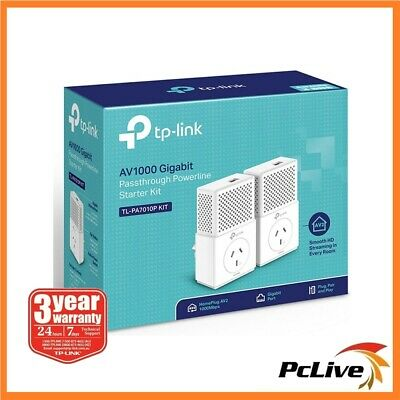 TP-Link TL-PA7010P KIT Gigabit Passthrough Powerline Adapter 1000Mbps AV1000 AV2