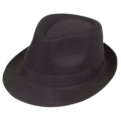 Black Fedora Plain Hat Outfit accessory for Gangster Fancy Dress  CT X5O4 G U8D3
