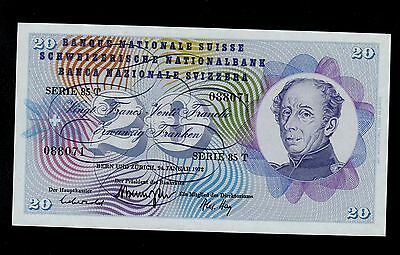 SWITZERLAND  20  FRANKEN  1972  PICK # 46t  UNC  BANKNOTE.