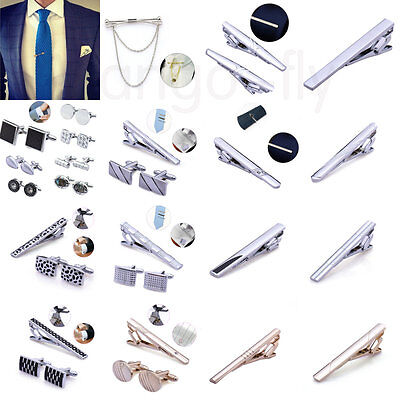 Various Mens Business Wedding Shirt Cufflinks and Necktie Tie Clip Pin Clasp Set