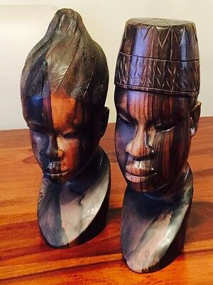 """Antique African Hand Carved Sculpture Statue Male&Female Large 14"""""""